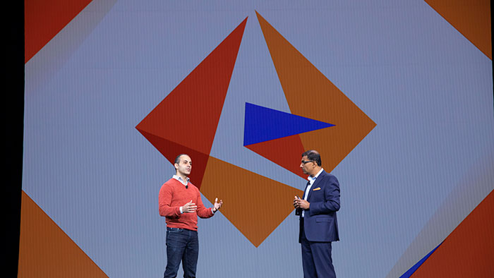 Databricks CEO Ali Ghodsi joins Informatica CEO Anil Chakravarthy during the morning General Session
